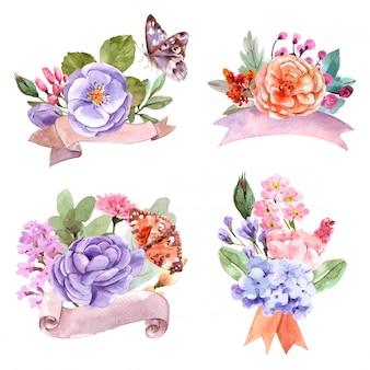 素敵な水彩画の花束セット