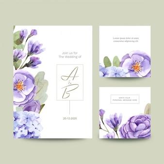 花と結婚式のカードのセット