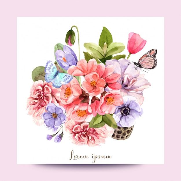 Букет цветов и бабочек для использования в оформлении