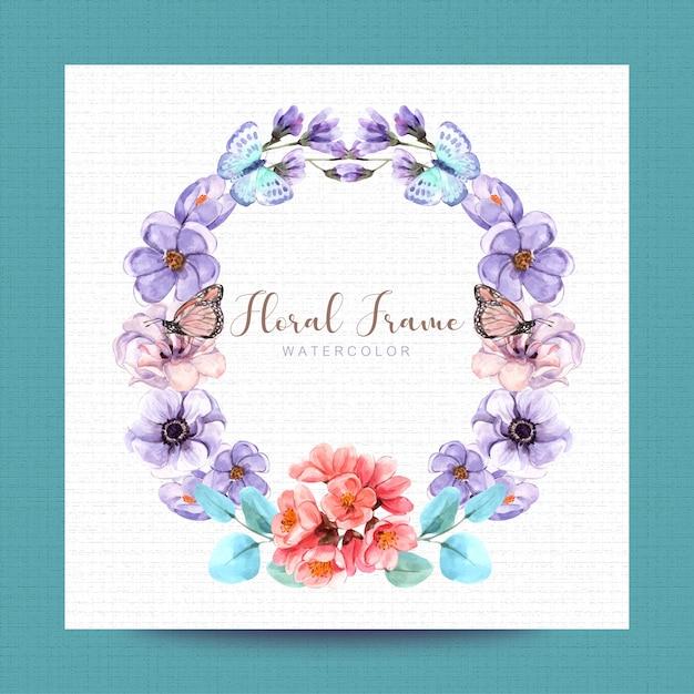 水彩画のデザイン、イラスト、背景と花
