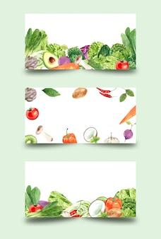 健康愛好家のための野菜、水彩