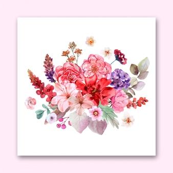 花のデザインの結婚式の招待状の花束。プレミアムベクトル