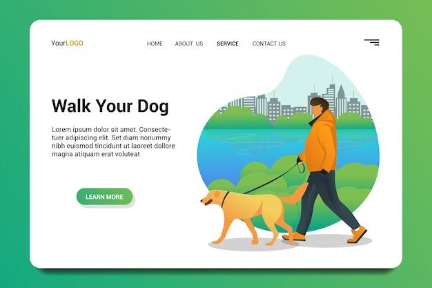あなたの犬のランディングページの背景を歩きます。