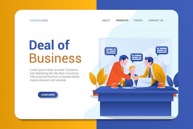 Сделка бизнес целевой страницы фон вектор шаблон