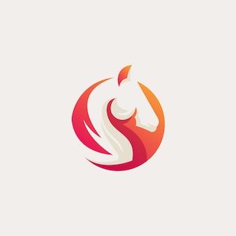 オレンジ色の馬のロゴ