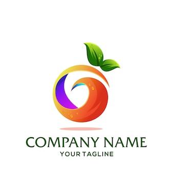 オレンジ色の円のロゴのテンプレート