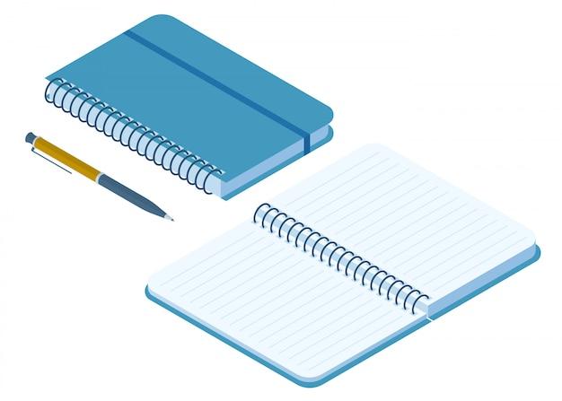 閉じた状態と開いた紙のノートの平らな等角投影図。