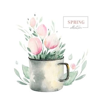 Весенний букет из цветущих цветов с зелеными листьями. акварельная живопись цветов. ручной обращается розовый изолированный цветочный дизайн