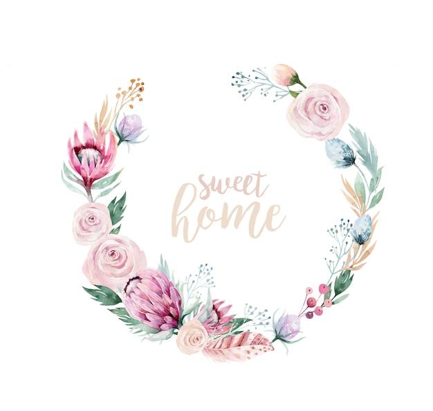 水彩花の花輪フレーム。甘い家のテキスト。