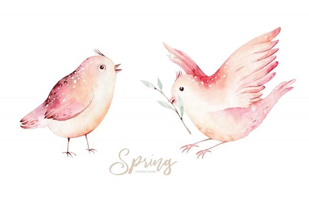緑の葉と花の開花枝に春の鳥。水彩画。手描きデザイン。