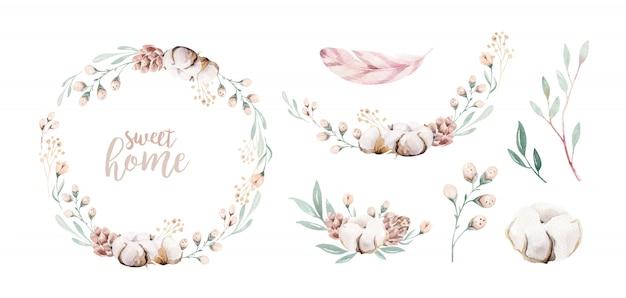水彩花の花輪フレーム。プロテアと綿の装飾。セットする