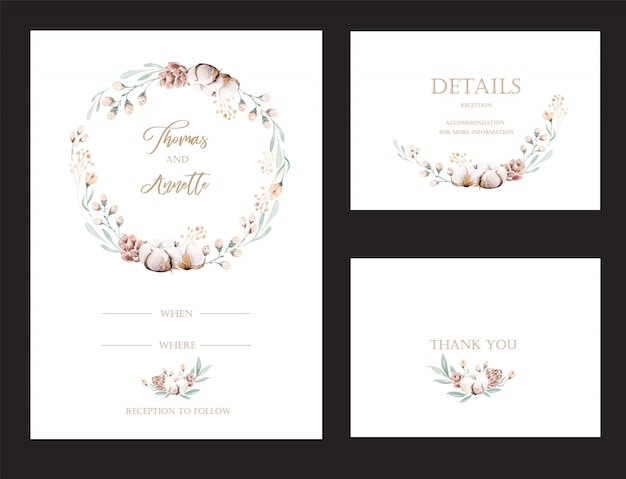 水彩花プロテアとゴールドの要素の招待状のセット。ウェディングコレクション