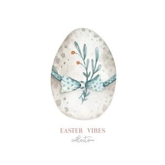 花、羽、卵と水彩のハッピーイースターエッグ。春の休日の装飾。
