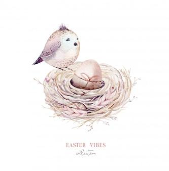 Ручной обращается акварель птичье гнездо с яйцами, пасхальный весенний дизайн