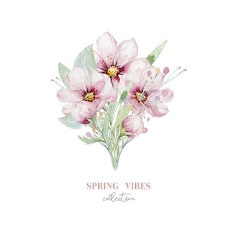 花の水彩画の花桜の花束。春の花