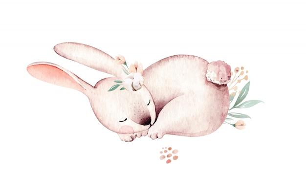 水彩のバニーハッピーイースターのウサギのデザイン。イースターのウサギ