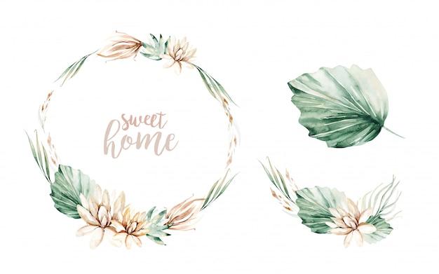 花の水彩画の牡丹の花のフレーム。熱帯の葉と花と花輪。セットする