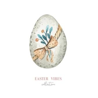 Акварель счастливое пасхальное яйцо с цветами, перьями и яйцами. весенние праздничные украшения.