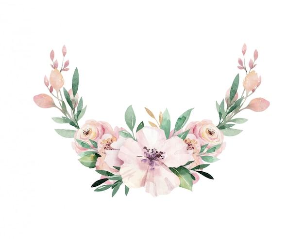 熱帯の葉と花と花の水彩牡丹の花の花輪