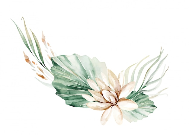 花の水彩画の牡丹の花。熱帯の葉と花と花輪