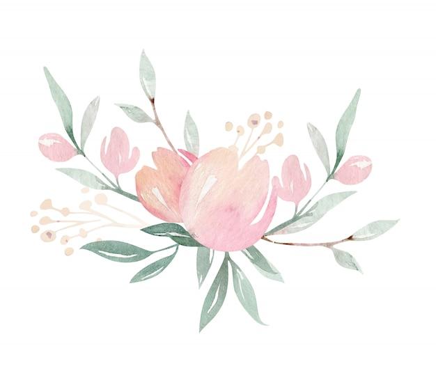 緑の葉と花の咲く枝に春の鳥。水彩