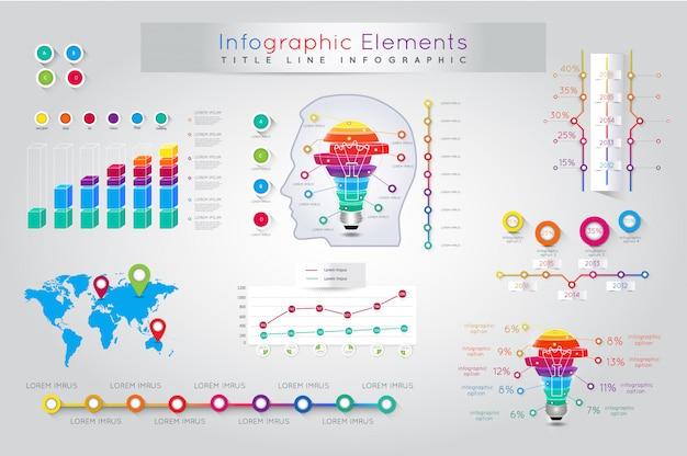 詳細なカラフルなインフォグラフィック要素