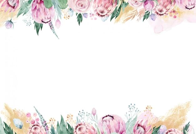 ピンクのプロテアと水彩の花のフレーム