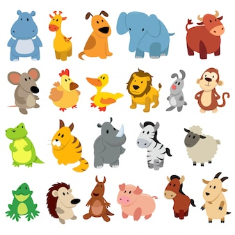動物の図面のセット。