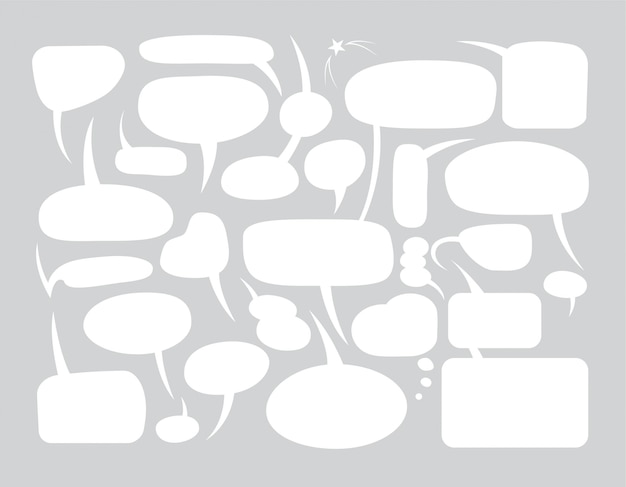 Набор пустых речевых пузырей в различных формах для комиксов