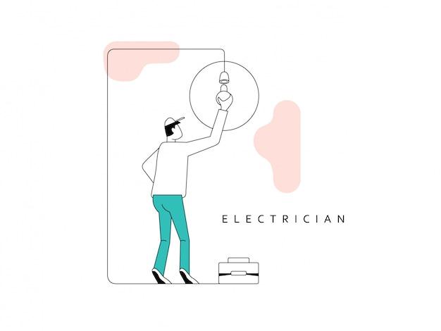 プロの電気技師。ツールボックスを持つ電気技師は、サービスのために実行されています。