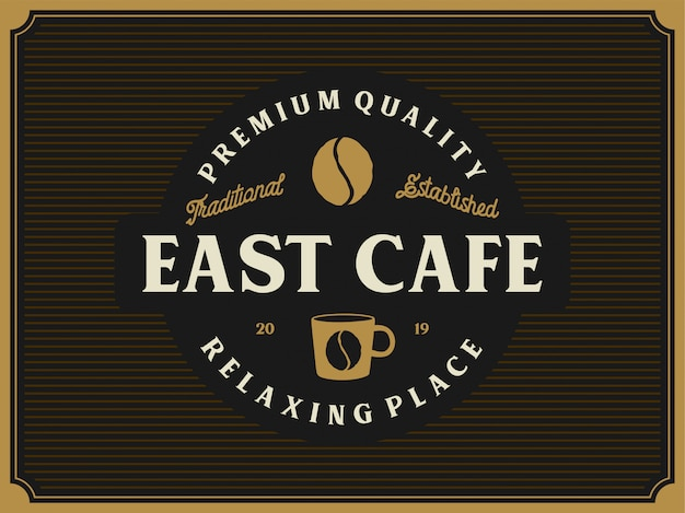 Винтажный логотип для кофейного продукта или кафе-магазина