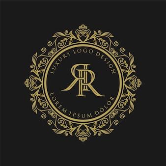 Роскошный дизайн монограммы с золотым логотипом