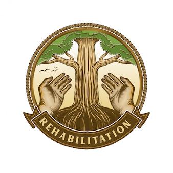 人生のロゴと人々の手と木の要素
