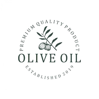 オリーブオイルのロゴデザイン。自然健康食品葉緑ヨーロッパオレア