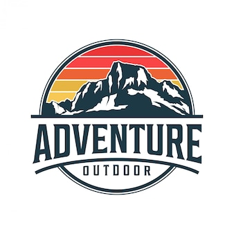 山の紋章モノグラムスタイル-屋外の野生動物自然エベレスト