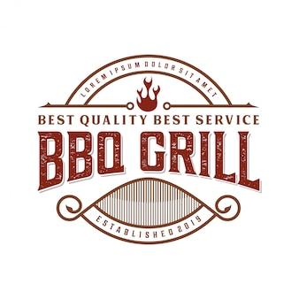 Урожай барбекю логотип для ресторана