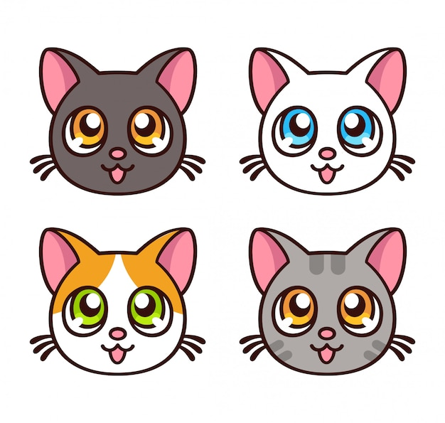 Набор милых аниме кошек