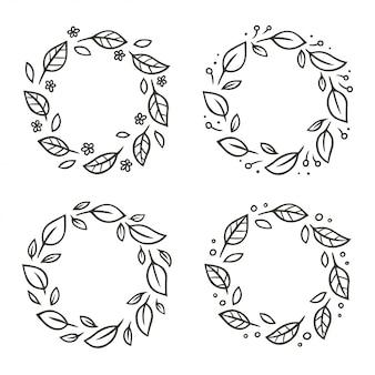 花と円形の葉の花輪のセット