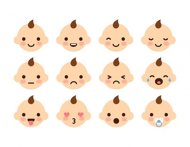 表情が異なる赤ちゃんの顔