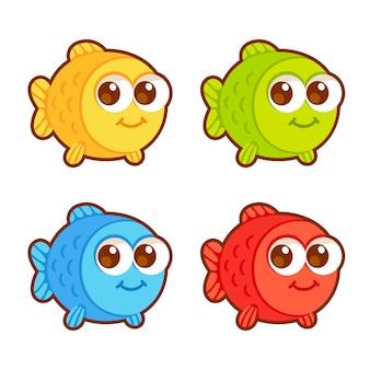 かわいい漫画の魚セット