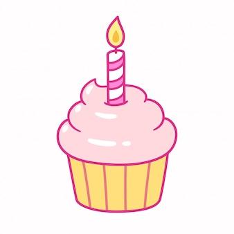 誕生日の蝋燭とカップケーキ