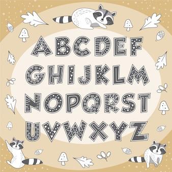 Симпатичный алфавит животных енота образования плакат для детей