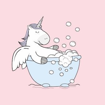 ユニコーン落書きは、お風呂の泡漫画を取る
