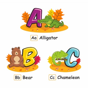 Животные алфавит осень аллигатор медведь хамелеон