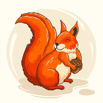 Милая белка мультфильм животных красный бурундук