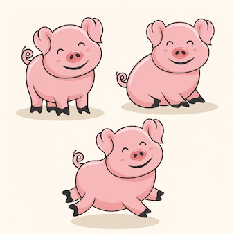 Свинья мультфильм милый ребенок свинья свинья