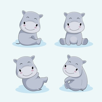 かわいいカバ漫画動物セット