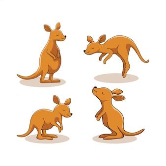 カンガルー動物漫画かわいいワラビーセット