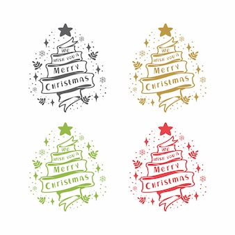 Лента рустик мы желаем вам счастливого рождества сосна
