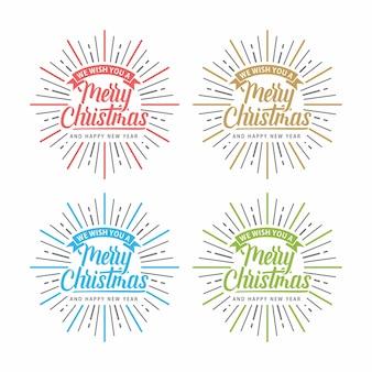 Счастливого рождества сияние текст типография